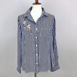 Velvet Heart Striped Floral Patch Button Up